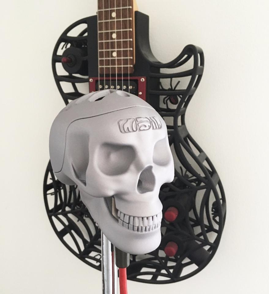 A match made in hell: The Skeletor 3D-printed microphone and the wonderfully ornate Spider guitar