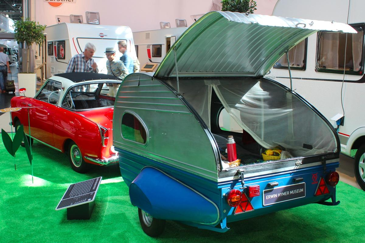 There were some classics sprinkled around outside of the Oldtimer section, and our favorite was this combo of Glas Goggomobile TS 250 and Elektro-Stahlbau Piccolo trailer
