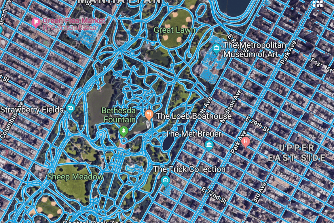 Traditionally-traced roads, as they appear on Google Maps