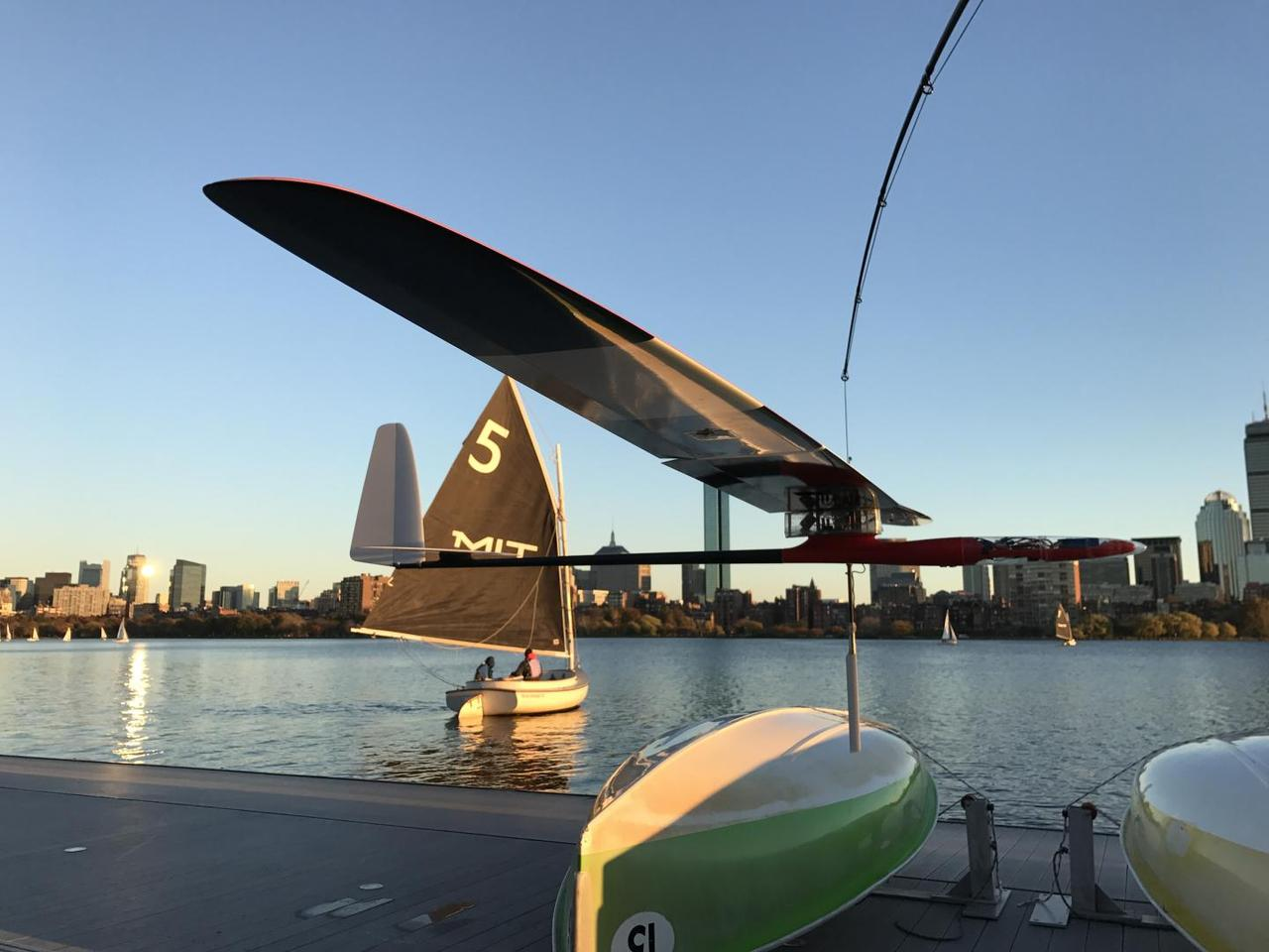 The Albatross glider, designed by MIT engineers, on the Charles River in Boston