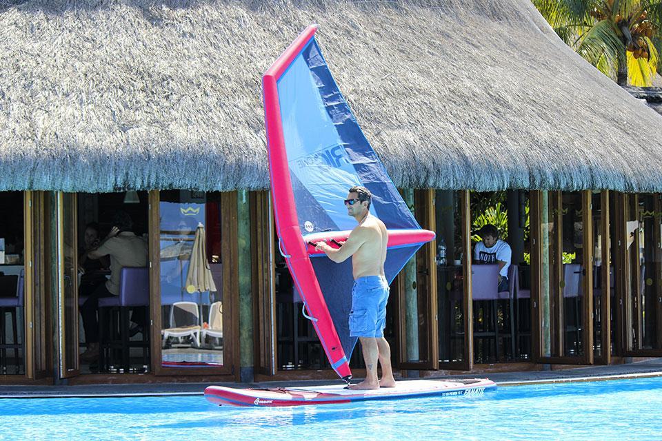 Pro windsurfer Nik Baker takes a spin