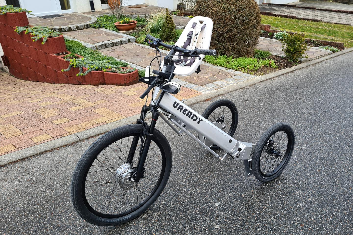 The Uready, pictured here with a suspension fork and a child seat