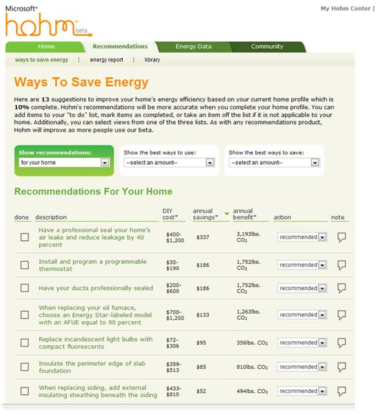 Microsoft Hohm offers personal recommendations about how to reduce your bill based on information you provide