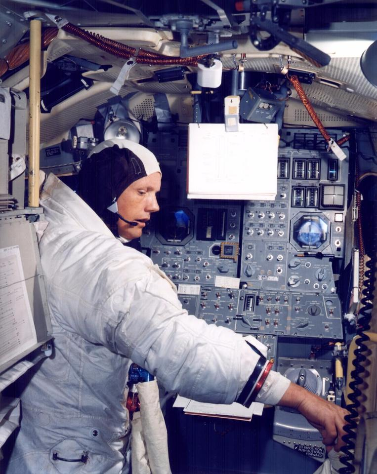 Neil Armstrong in the Apollo Landing Module simulator. All the astronauts practised countless hours getting it right in the simulator for good reason.