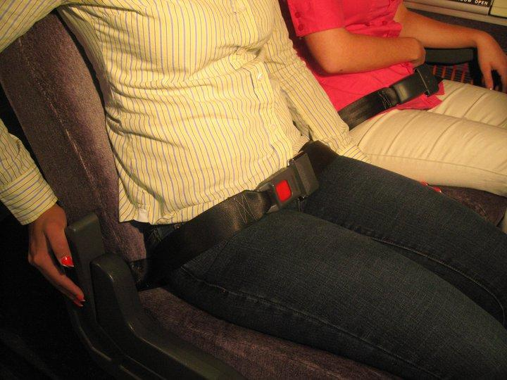 The SafeHarness is a portable seat belt that can be quickly and easily added to existing bus seats