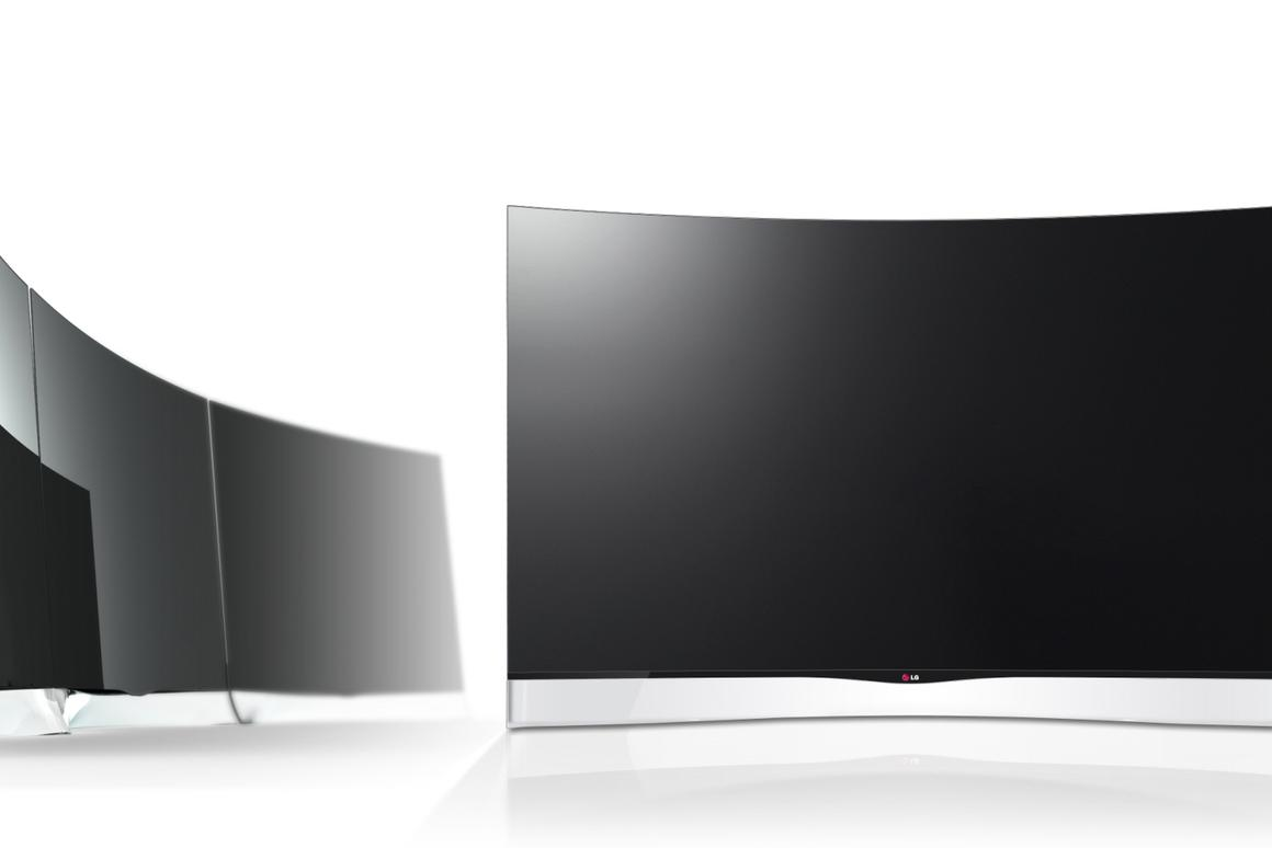 The 55EA9800 Curved OLED TV that LG will begin delivering next month