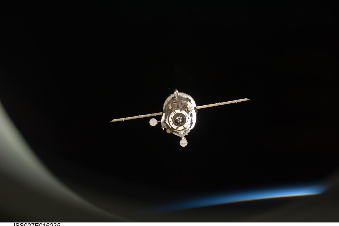 Progress 59 is of an almost identical configuration to Progress 41, seen above undocking from the ISS (Photo: NASA)