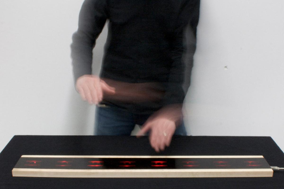 Each of the eight Infrared proximity sensors across the surface of the Airpiano can register and play three notes depending on the user's vertical hand position