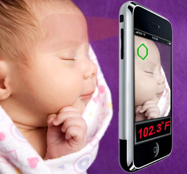The infrared sensor could quickly take a sleeping baby's temperature