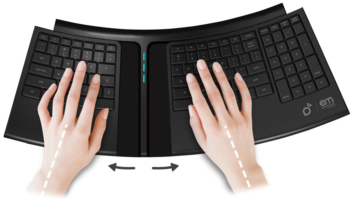 SmartFish Technologies' Engage Keyboard automatically changes position to relieve stress on user's hands and wrists