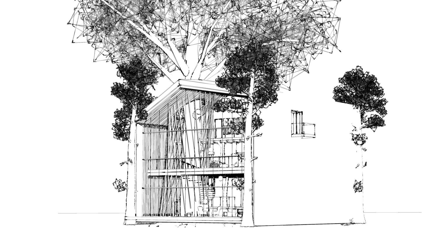 The eco-treehouse is built around a tree as the central support column, which bears the weight of the house and its contents