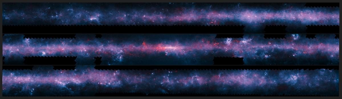 The imagery released today shows the APEX data in red, with the background blue image taken at shorter wavelengths by NASA's Spitzer Space Telescope