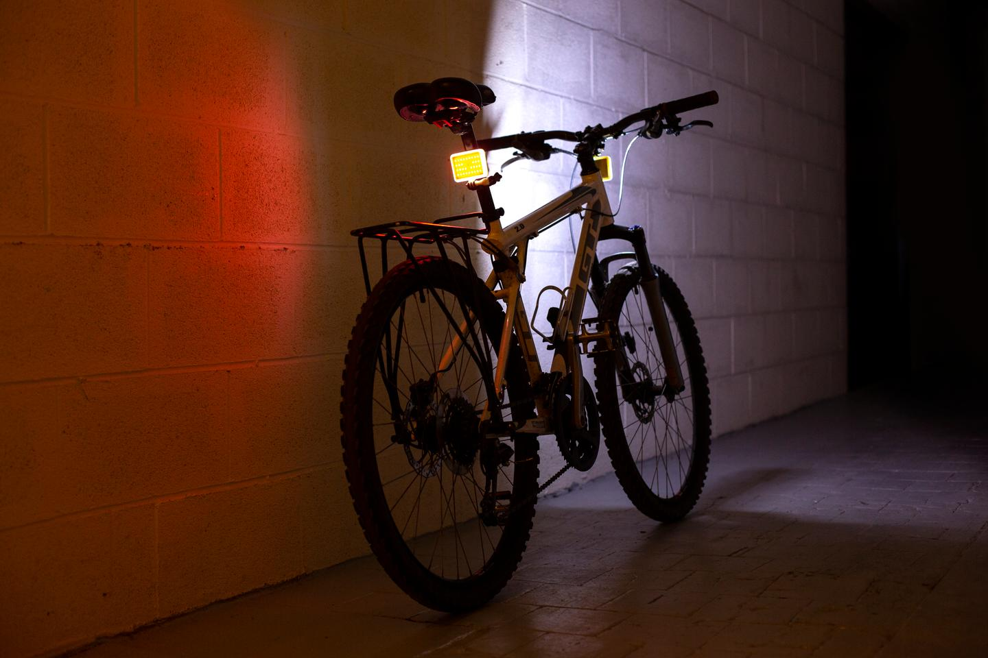Dual Glowstone Flashlights mounted as bike lights
