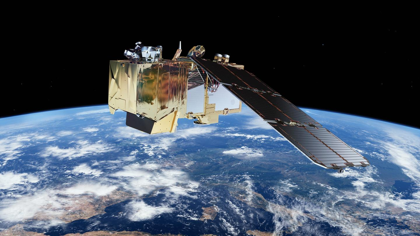 Artist's impression of the Sentinel-2A satellite in orbit (Image: ESA/ATG medialab)