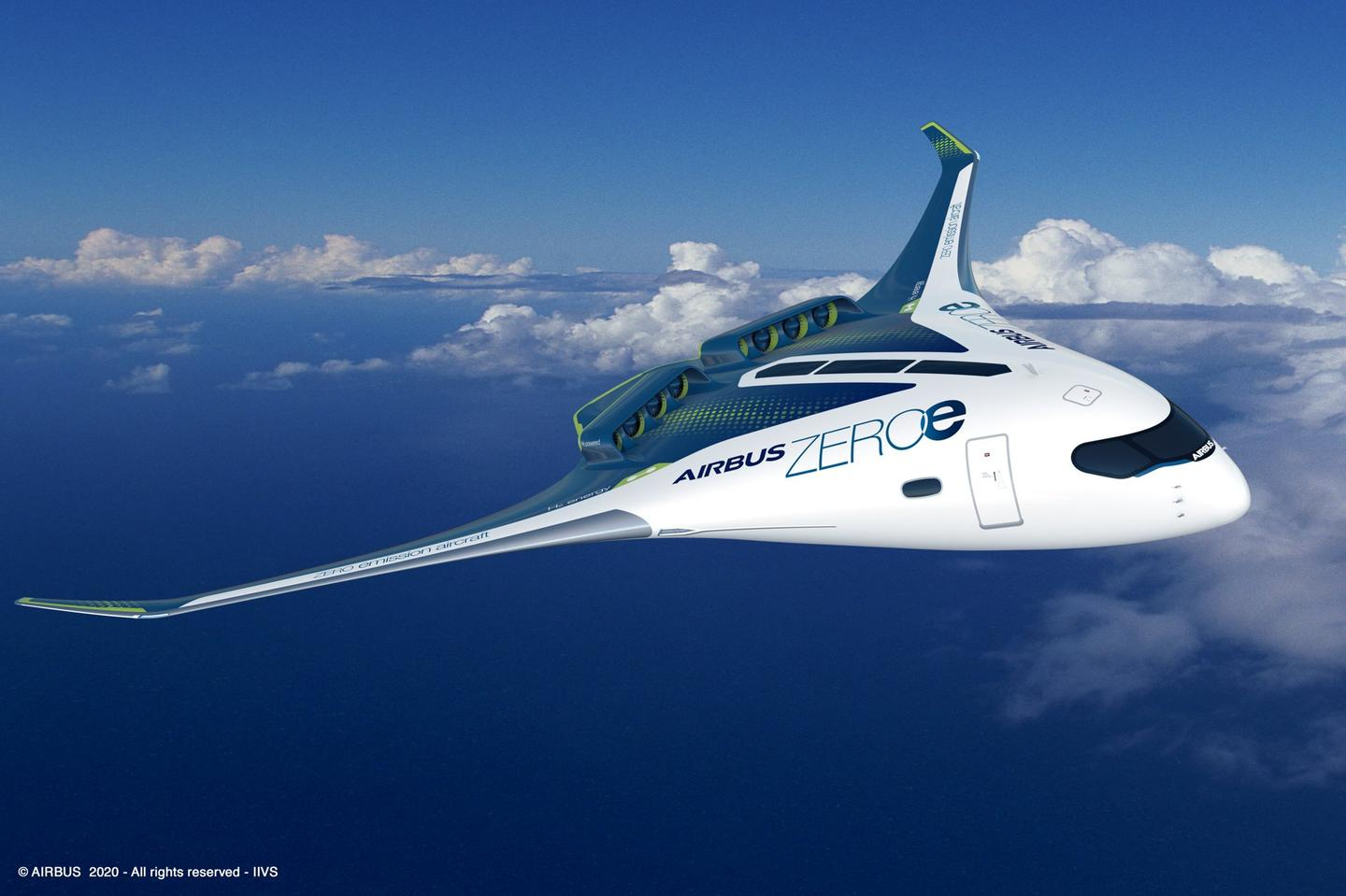 A hydrogen-fueled blended wing concept allows for multiple fuel storage and cabin configurations