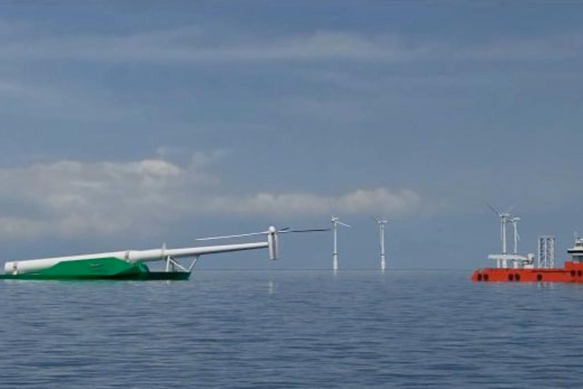The proposed WindFlip system would use barges that sink stern-first into the ocean, for transporting and placing large offshore wind turbines