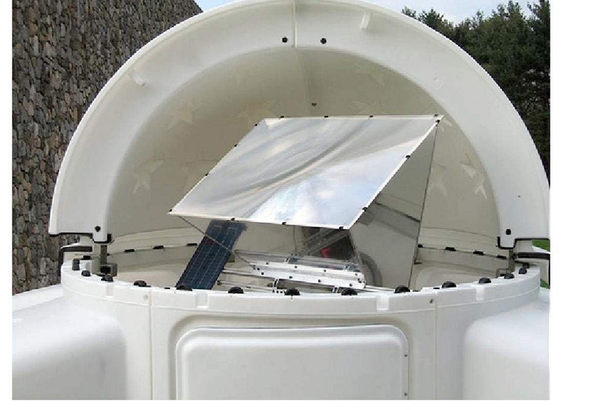 This concentrator photovoltaic unit at IBM Research is being used to collect data to optimize scale up to industrial systems