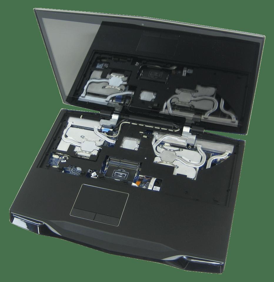 Asetek's slim form factor liquid cooling system installed in an Alienware M18x gaming laptop