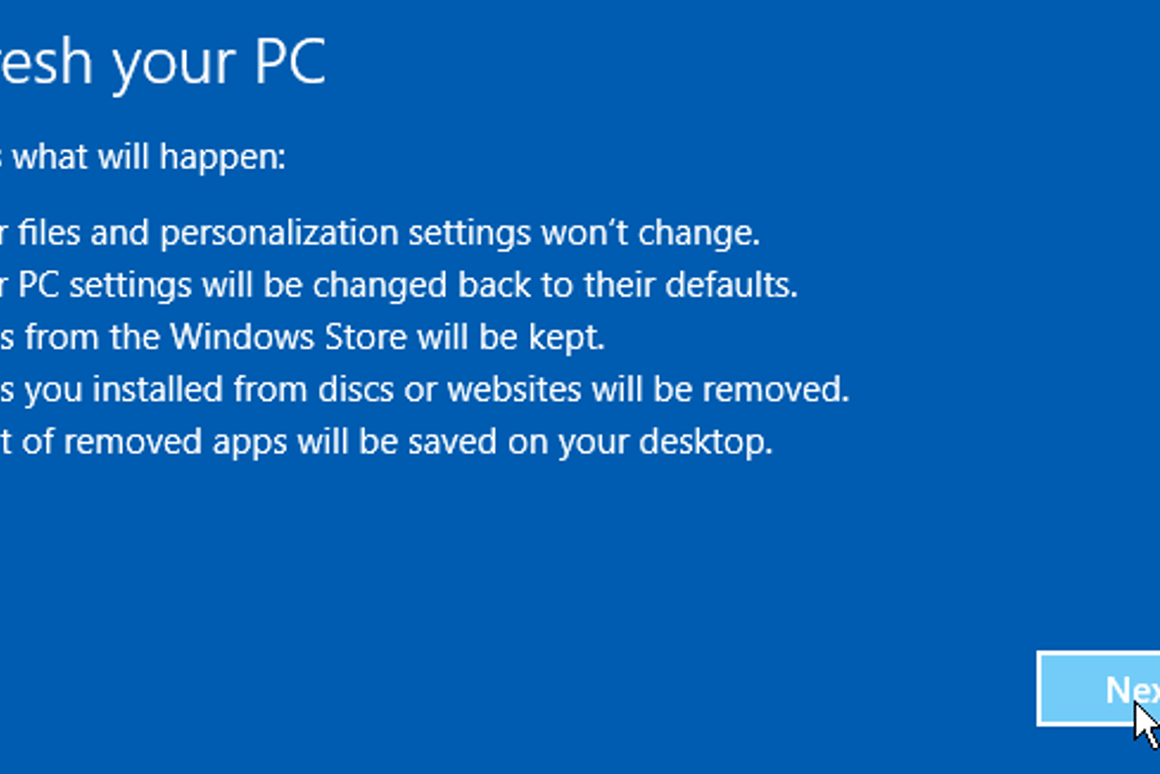 How to give your Windows 8 PC a clean start with PC Refresh