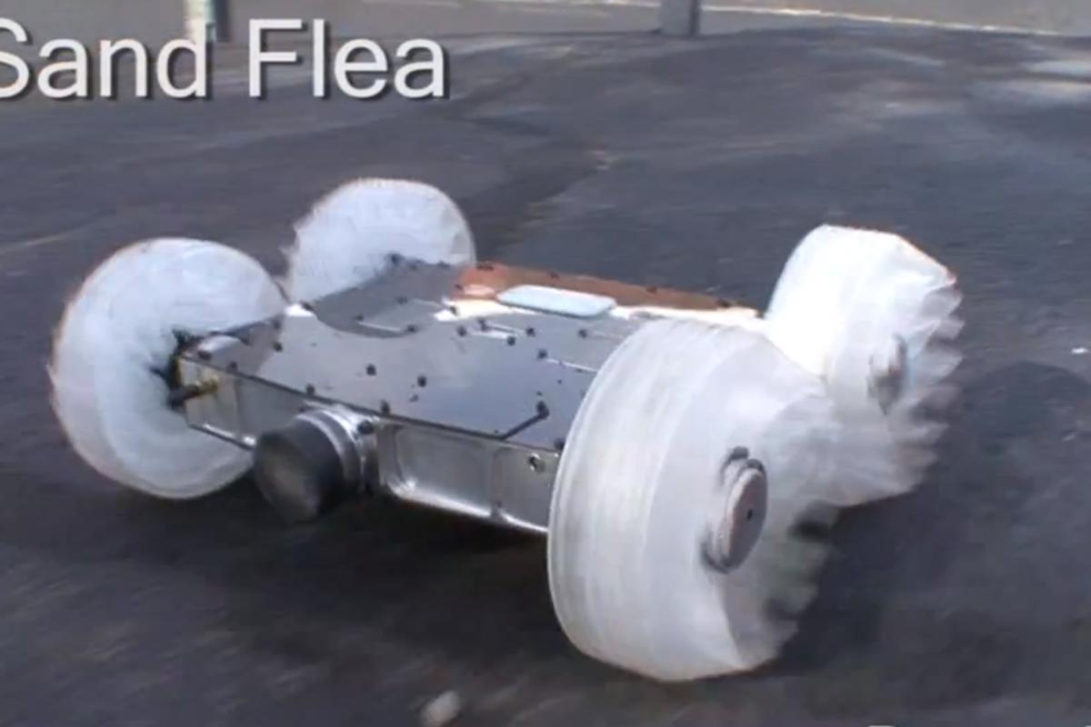The Sand Flea robot can leap to heights of 30 ft (9 m) thanks to a CO2-powered piston visible on the rear