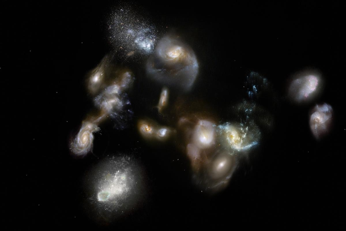 Artist's impression of a group of galaxies interacting in the early universe