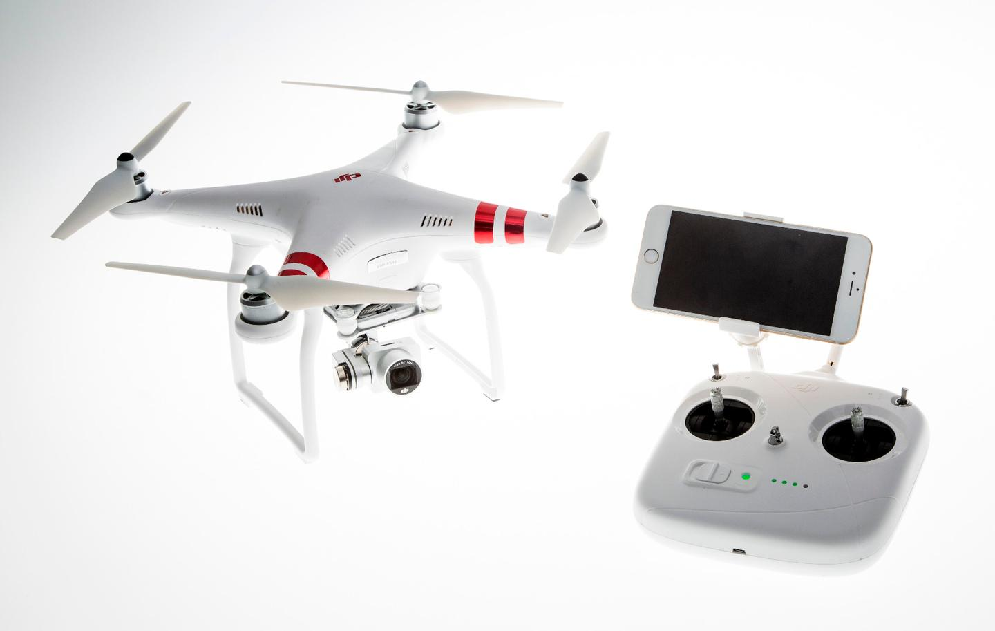 The new DJI Phantom 3 Standard, with its included controller