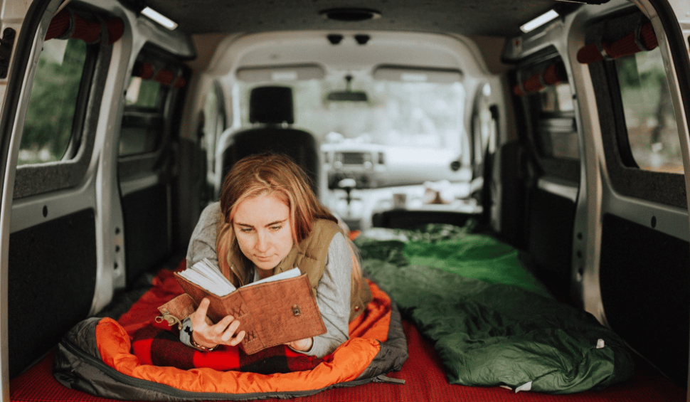 With a couple of camper boxes as the base and four individual cushions on top, the Free Bird interior turns into a full-size bed