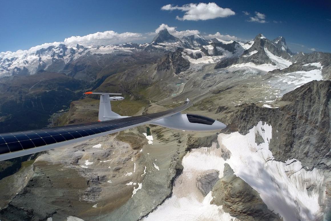 The Sunseeker Duo flies over Switzerland's Aletsch Glacier