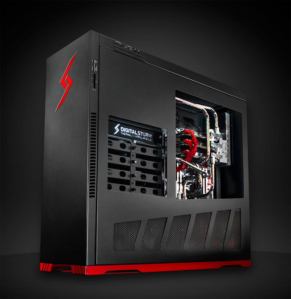 The top of the range Aventum II features a Core i7 3970X processor running at 3.5 GHz, 16 GB of 1866 MHz DDR3 RAM, three Nvidia GTX Titan GPUs