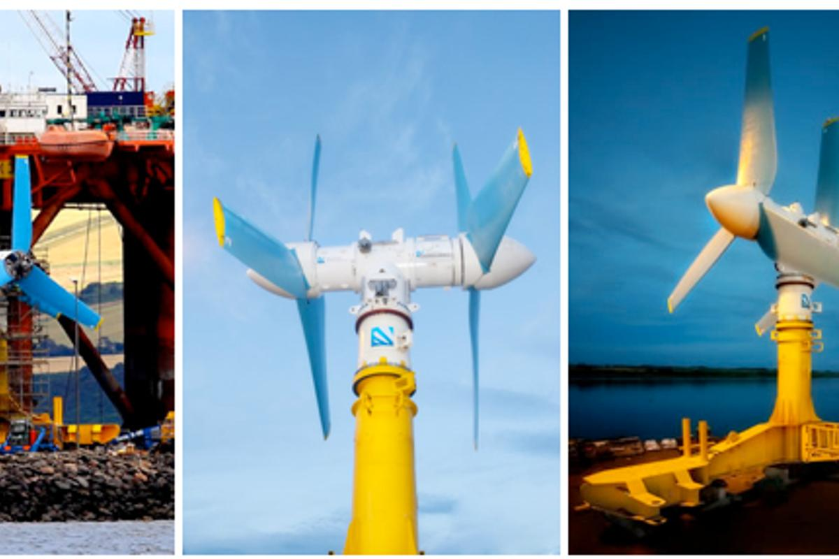 Atlantis Resources Corporation's tidal power turbine before installation on the sea floor