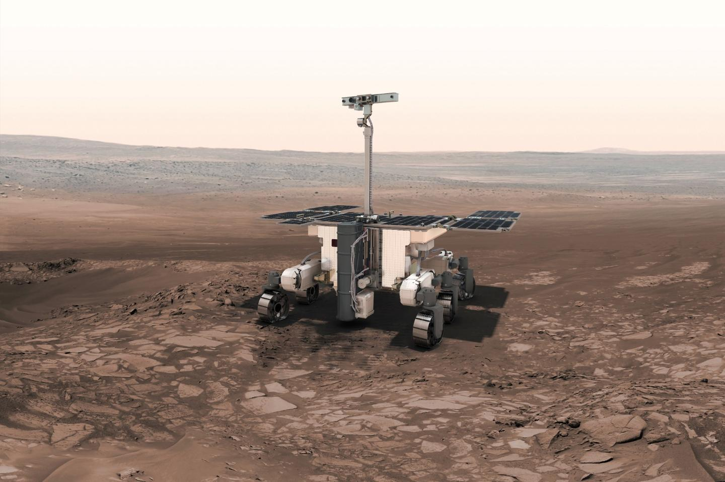 Render of the ExoMars 2020 rover on Mars
