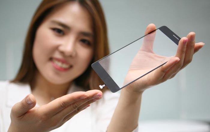A proof of concept invisible fingerprint sensor integrated into a glass smartphone display cover