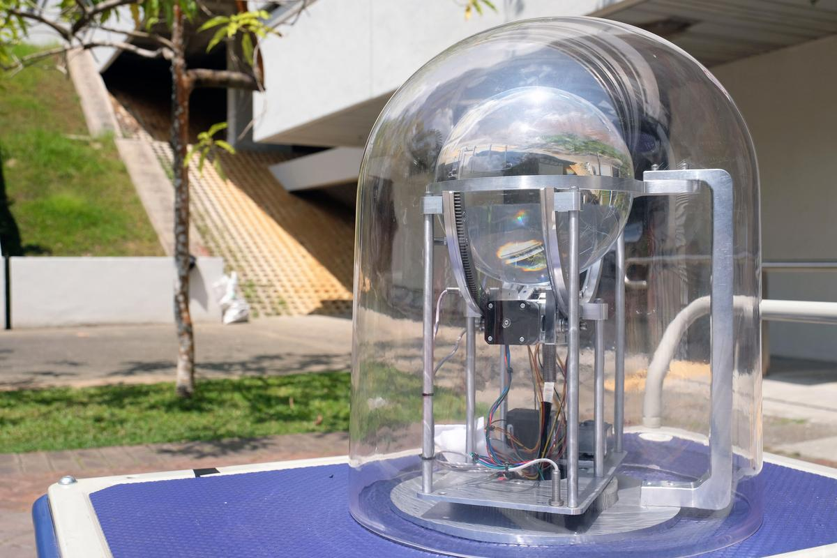 The prototype solar concentrator, inside its protective dome