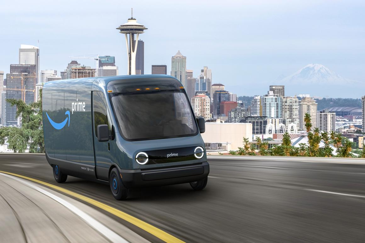 Amazon expects Rivian's electric vans to begin delivering packages for customers as early as 2021