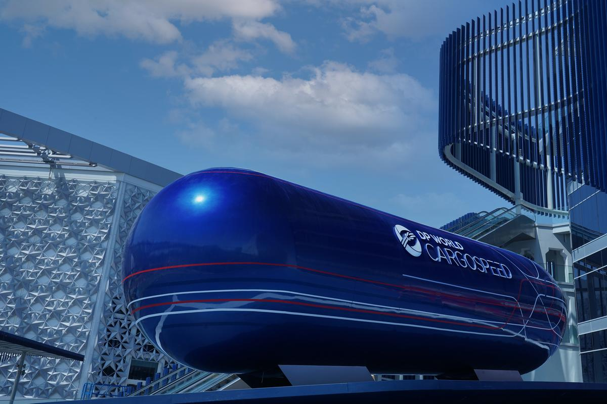Virgin Hyperloop will be showcasing a full-scale cargo pod, measuring nearly 10 m (33 ft) long, at Dubai's Expo