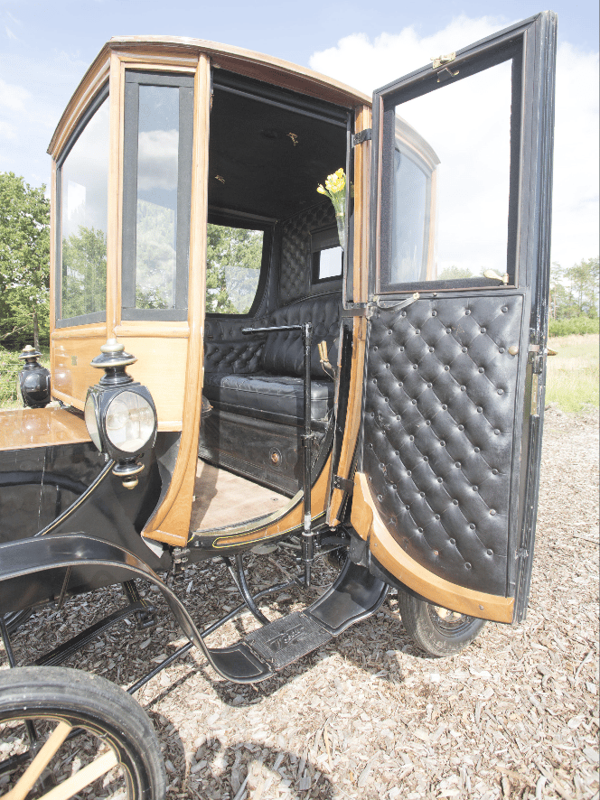The 1905 Woods Queen Victoria Brougham has an all-leather interior