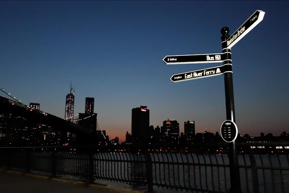 Points is an internet-connected street sign that pulls data from social media and spins 360 degrees to aim in the direction of any location or event