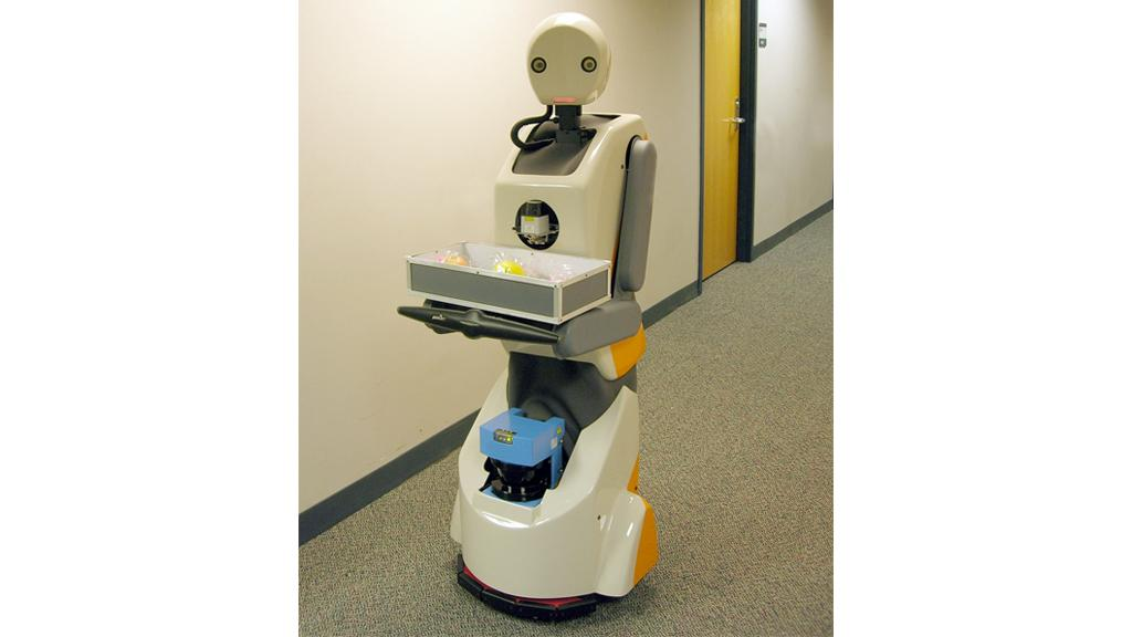 Snackbot on his rounds delivering sustenance to those in need at CMU
