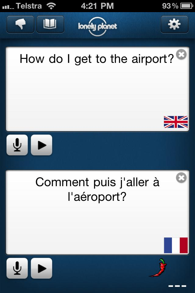 The French Lonely Planet Offline Translator