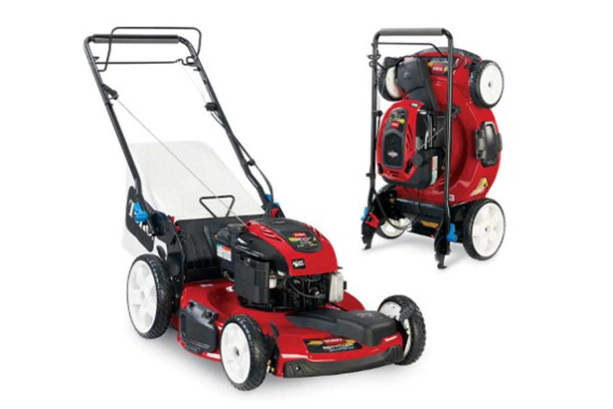 Toro says that the upright storage of the SmartStow mower will save up to 70 percent of space