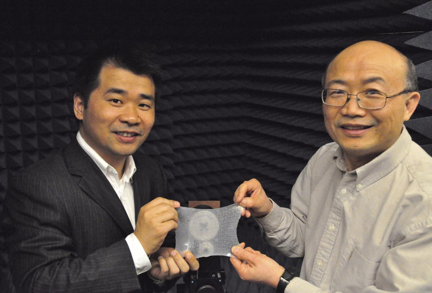 Iowa State's associate professor Liang Dong (left), and Prof. Jiming Song with the material