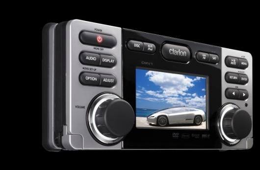The Bluetooth-ready Clarion CMV1 features a 3.5-inch TFT color display, offers DVD-video, DivX, iPod Video playback and, with rear panel AV inputs and outputs, it is capable of driving additional display screens