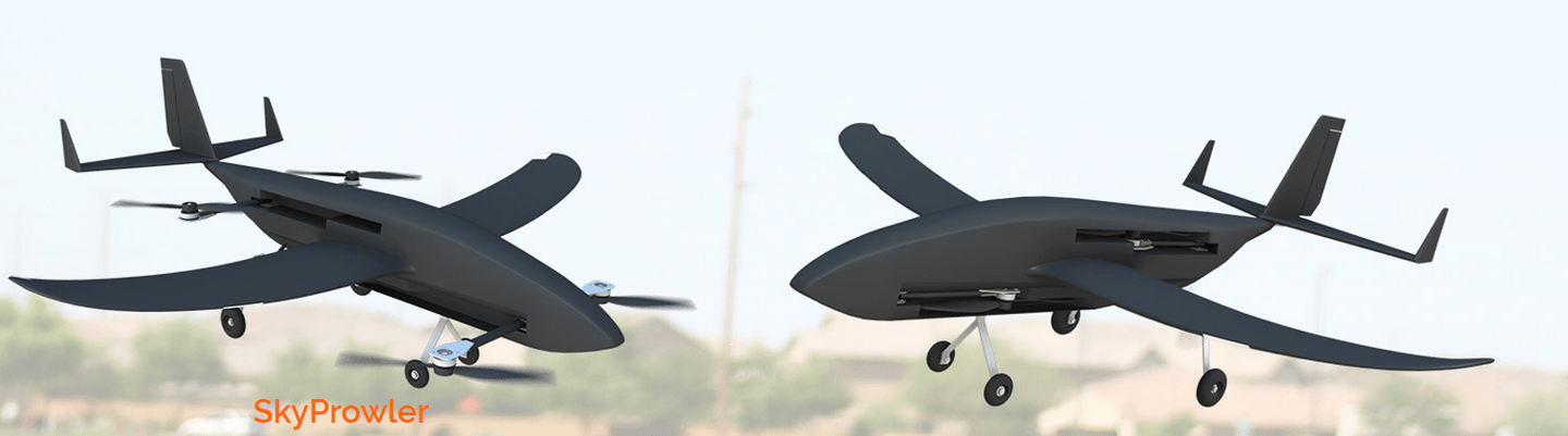 The Krossblade SkyProwler is smaller and has H-configuration rotor arms