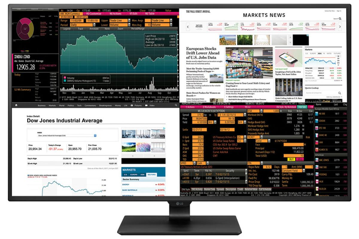The LG 43UD79-B monitor can display images from up to four sources at once in a variety of configurations