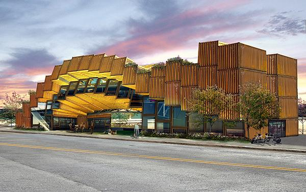 A Los Angeles design firm has proposed using 65 shipping containers to build an environmental education center in the city of Long Beach (Image: APHIDoIDEA)