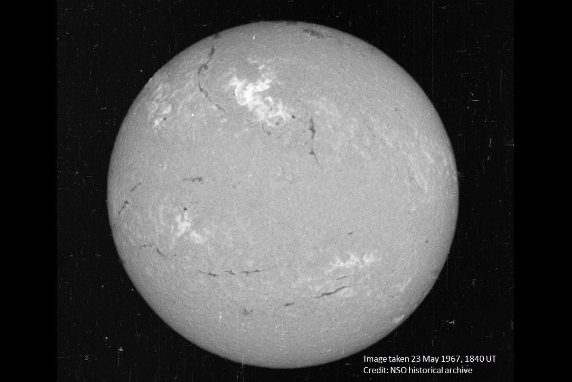 Image on the Sun captured on May 23,1967