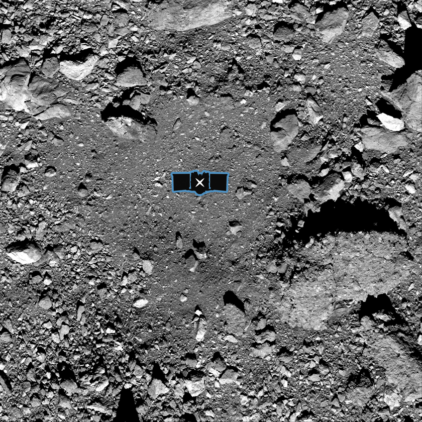X marks the spot of the OSIRIS-Rex sampling site on asteroid Bennu