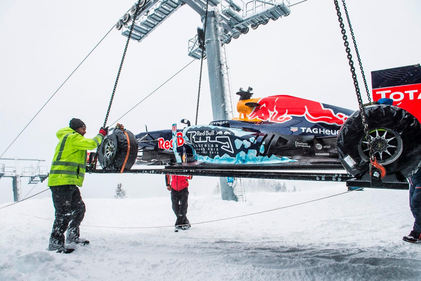 Quite the feat through and through, the F1 slope ride included a heli-lift onto the mountain