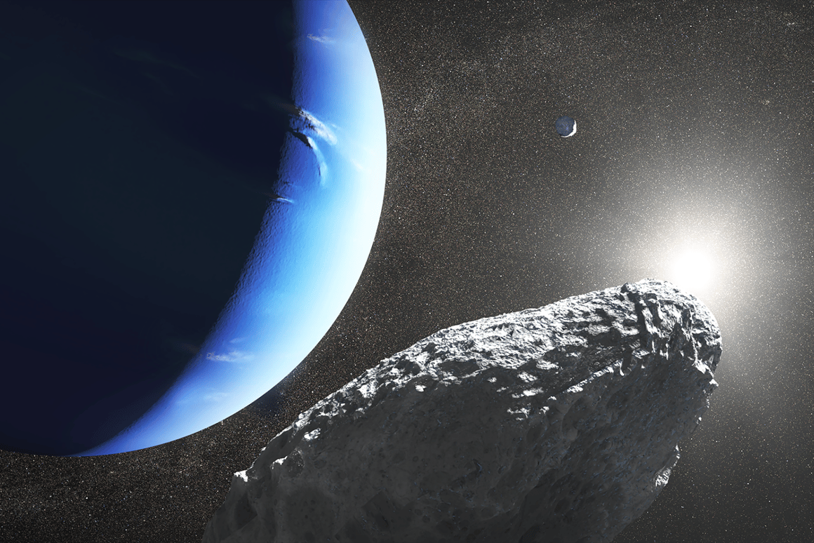 An illustration of Hippocamp, a newly-discovered moon of Neptune