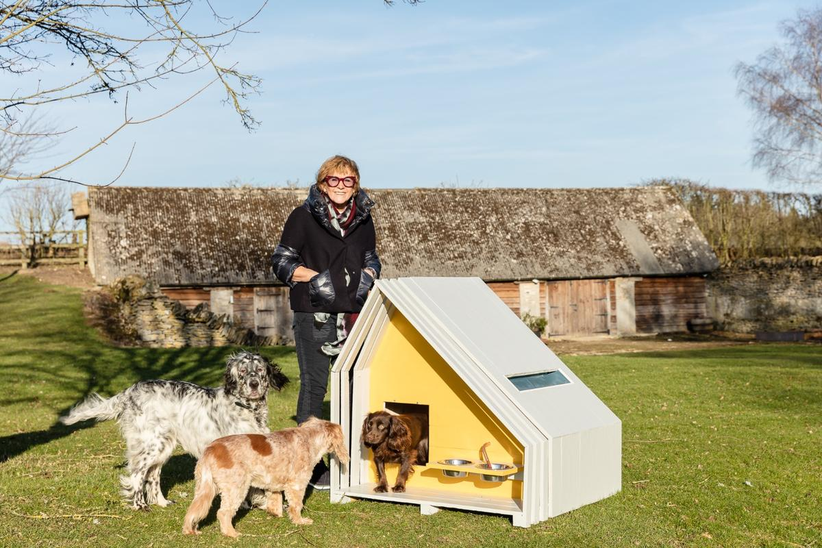 Condy Lofthouse Architects teamed up with broadcaster Anne Robinson to create this doghouse called The Hideaway, which has food bowls affixed to its exterior